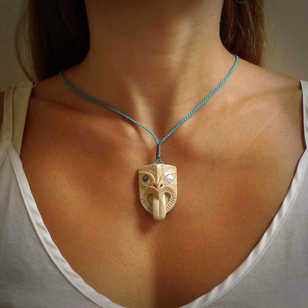 Hand carved Wheku pendant. Carved from deer antler by NZ Pacific. Hand crafted bone jewellery for sale online.
