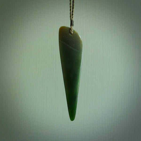 New Zealand jade drop pendant. Hand carved in New Zealand by Darren Hill, jade artist, for NZ Pacific.