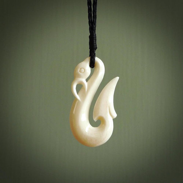 Hand carved bone manaia, made in New Zealand