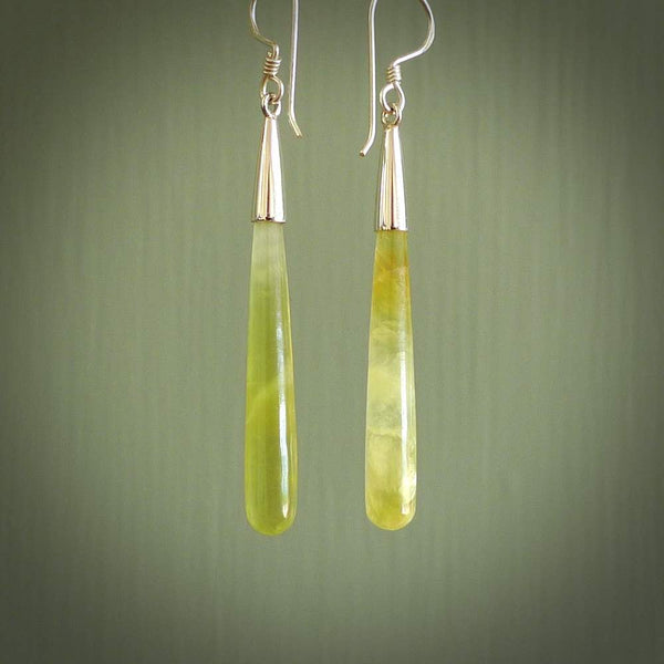 Hand carved Prehnite Crystal Earrings. Made by NZ Pacific and for sale online. Exotic, Hand made Jewellery made in New Zealand.