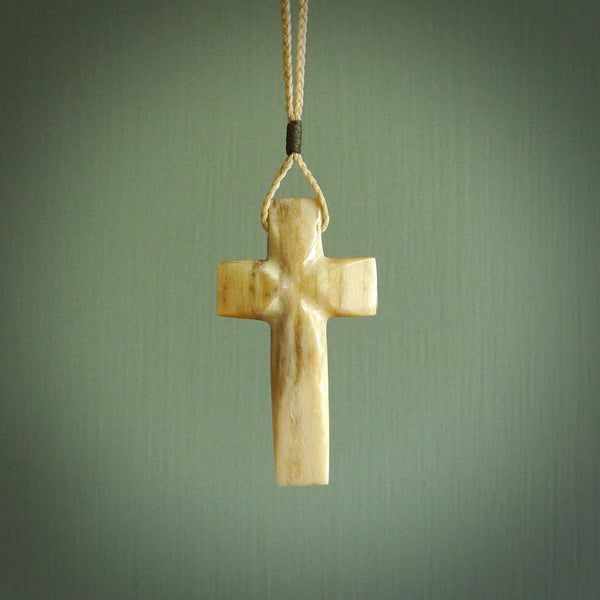 Hand carved Marlin Bill cross. Religious symbol pendant. Christian cross pendant for sale online.