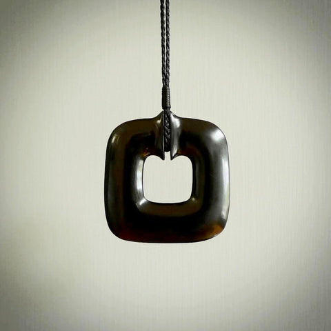 Contemporary pendant hand carved from Australian Black Jade. Designed and made by NZ Pacific. All hand carved jade.