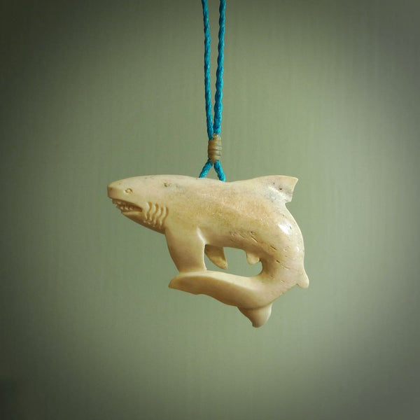 Hand carved shark pendant. Natural bone pendants from NZ Pacific.