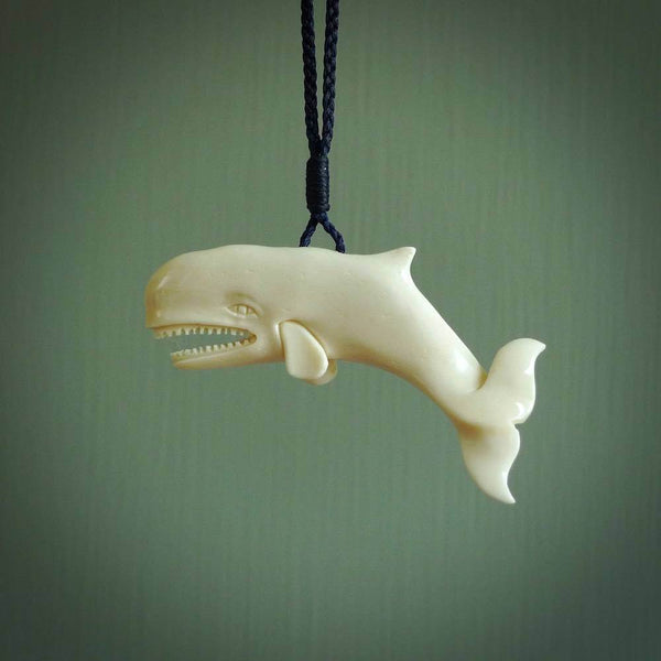 Hand carved sperm whale pendant. Natural bone pendants from NZ Pacific.