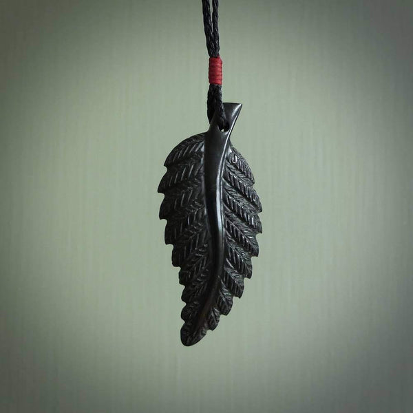 Hand carved black fern pendant. Handmade by NZ Pacific. Black fern necklace, jewellery from Australian black jade.