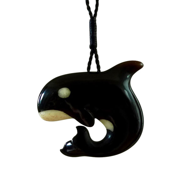 Buffalo horn and natural bone orca. Hand carved pendant made by NZ Pacific.