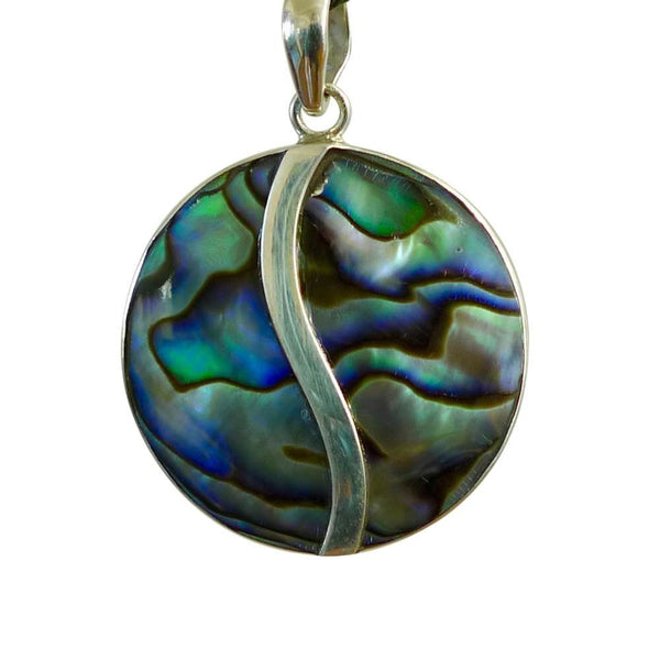 Pāua shell and sterling silver pendant.