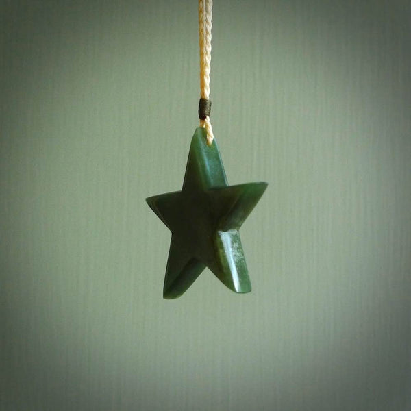 Flower jade star pendant. Star shaped necklace hand made in New Zealand.