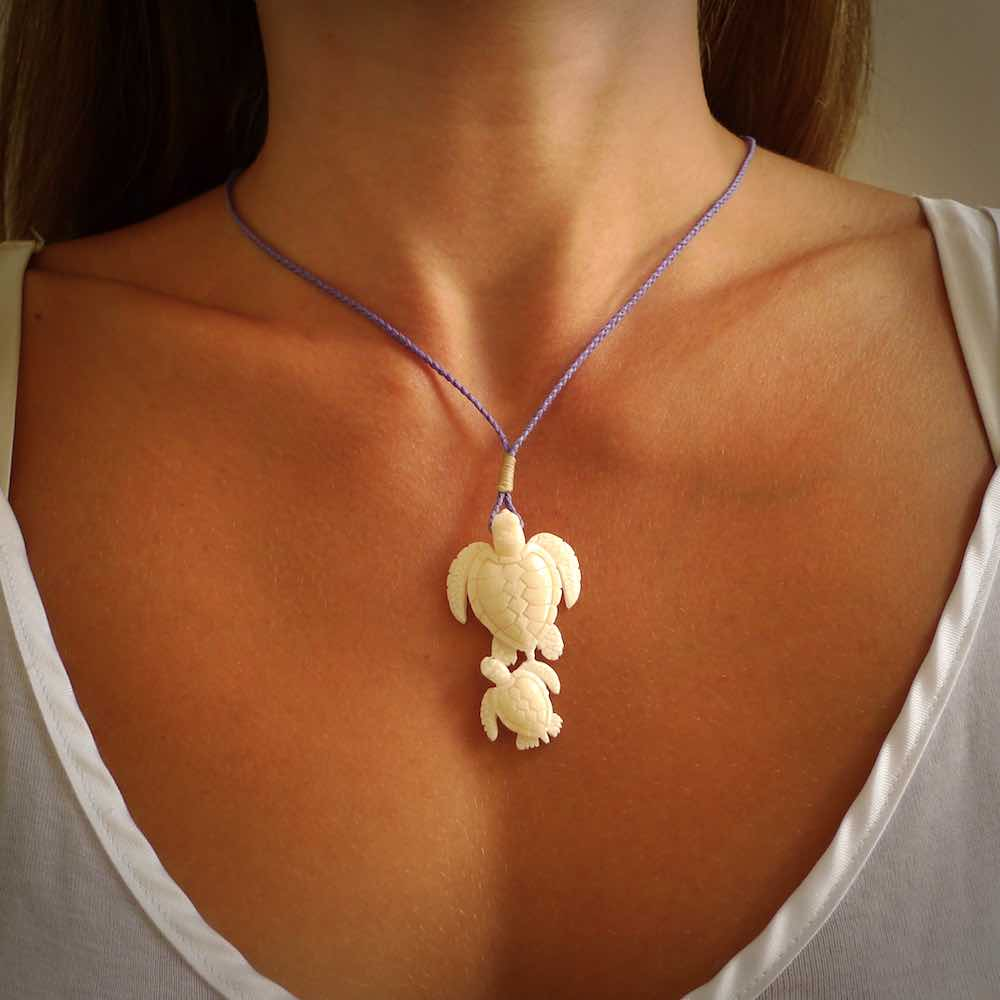 Hand Carved Natural Bone Turtle Pendant Real Bone Turtle Necklace Nz Pacific