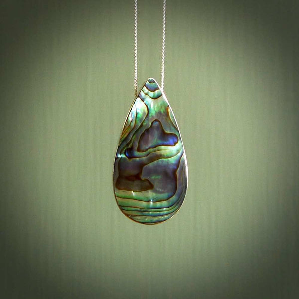 Sterling silver teardrop paua pendant, New Zealand paua necklace