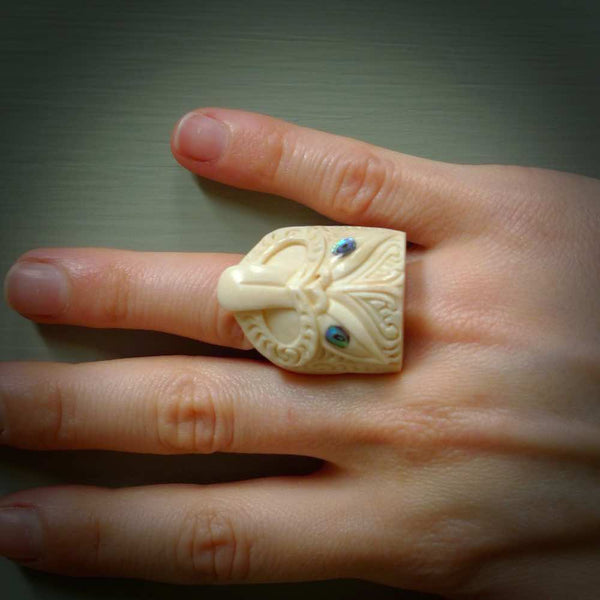 Hand carved deer antler rings. Bone rings handcarved in a traditional Māori design. Hand made jewellery for sale online. Wheku ring carved in bone.