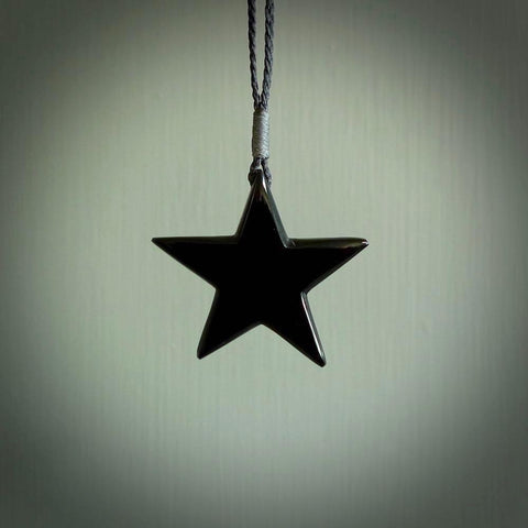Black jade star pendant. Handmade in New Zealand by NZ Pacific.