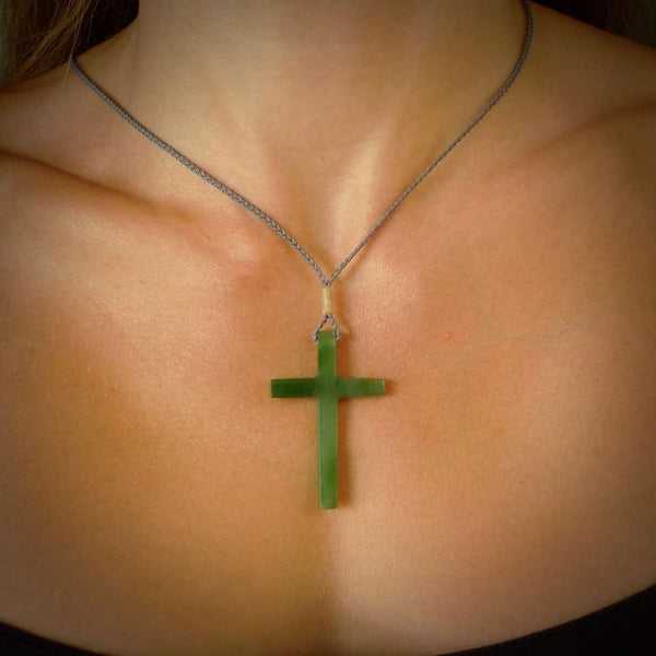 Hand carved jade cross. Made from New Zealand jade. Christian cross for sale online.