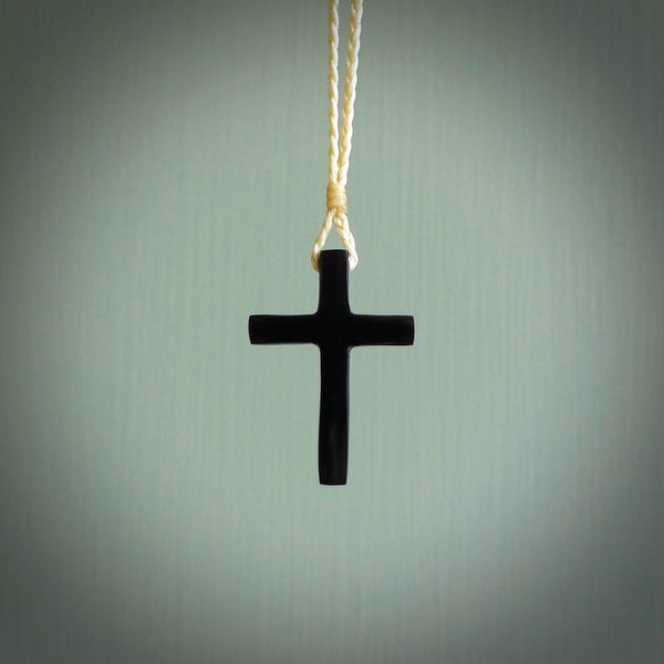 Black jade christian cross pendant. Hand carved in New Zealand.