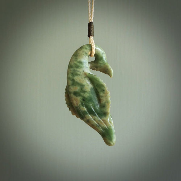 Jade humpback whale pendant. Hand carved by NZ Pacific. Jade jewellery for sale online.