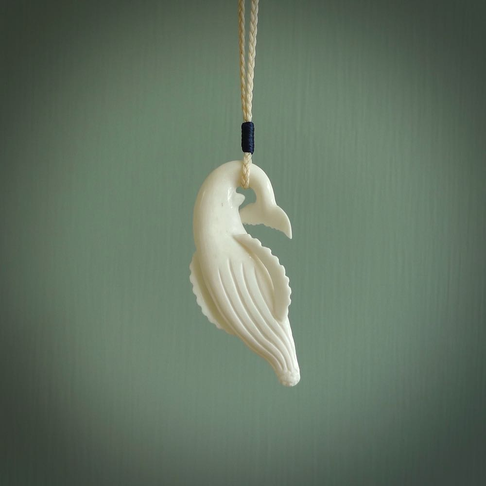 Hand Carved Real Natural Bone Humpback Whale Pendant Nz Pacific