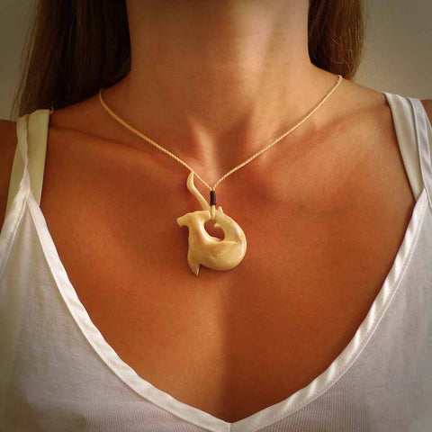 Hammerhead shark pendant carved from woolly mammoth tusk. Hand made jewellery for sale by NZ Pacific online.