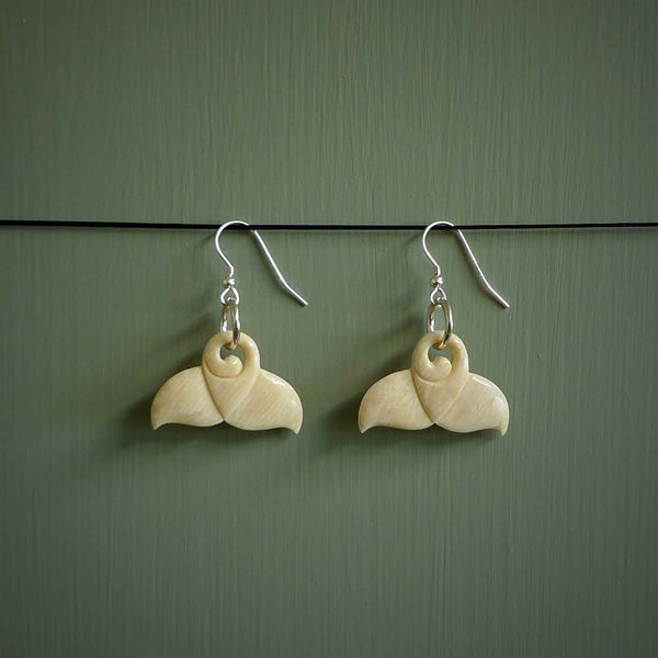 Mammoth Tusk earrings. Hand carved by NZ Pacific.