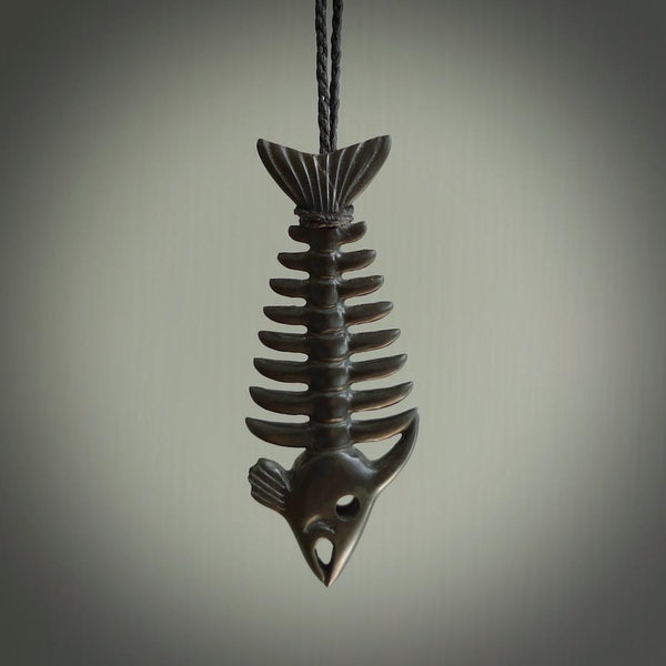 Hand carved Australian Black Jade fish skeleton pendant. Hand made black jade fish necklace. Fish themed jewellery. Ocean themed pendant. One only necklace provided with adjustable cord and free delivery.