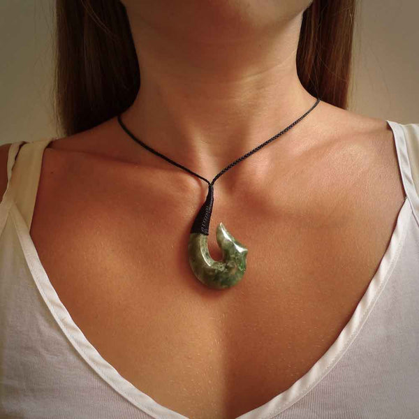 Jade hook pendant. Hand carved by NZ Pacific from Indonesian jade. Jade jewellery for sale online.