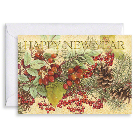 Rosehips and Pines - Happy New Year