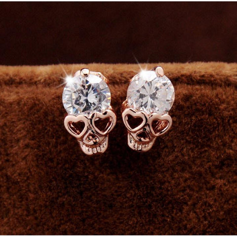 Love Skull Diamond Earrings