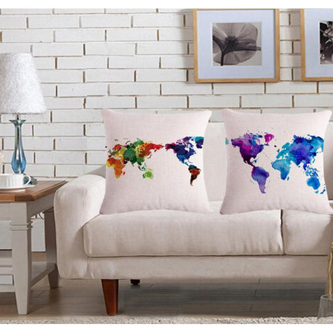 The World In Watercolor PillowcaseInteriorLuna Daze