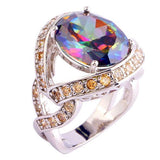 Rainbow Topaz and Citrine Ring