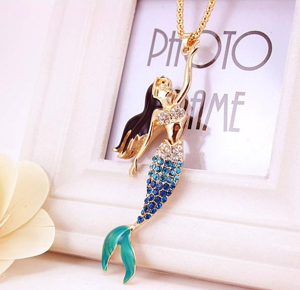 Bejeweled Mermaid Necklace, Luna Daze