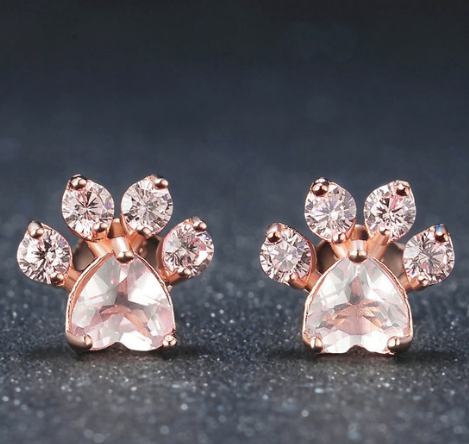Rose Quartz Pawprint EarringsJewelryLuna Daze