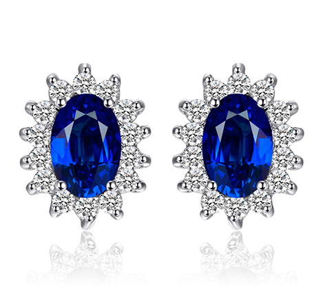 Blue Sapphire Stud Earrings, Luna Daze