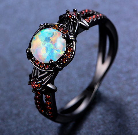 Mystic Rainbow Fire Opal Ring