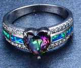 Fire Opal & Mystic Topaz Heart Ring, Luna Daze