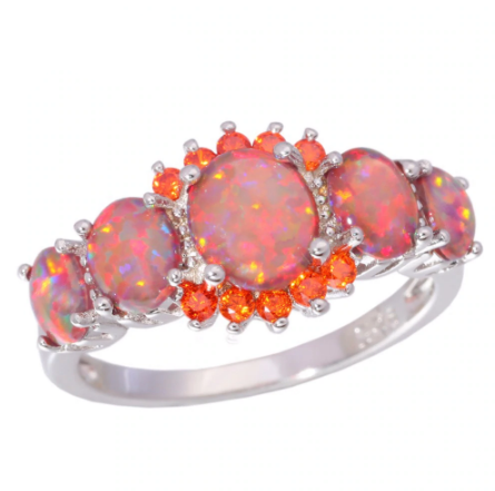 Orange Fire Opal & Garnet Ring