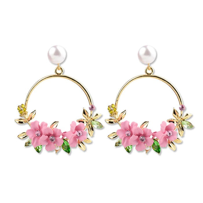 Wildflower & Pearl Hoop Earrings