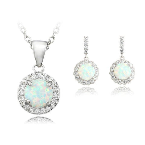 Fire Opal Necklace & Earring Set, Luna Daze