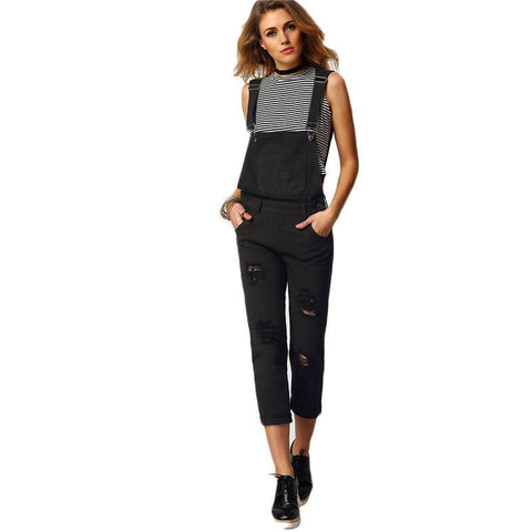 Black Denim Overalls - Luna Daze