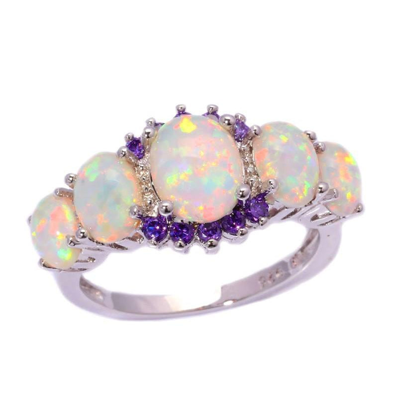 Fire Opal and Amethyst Ring, Luna Daze