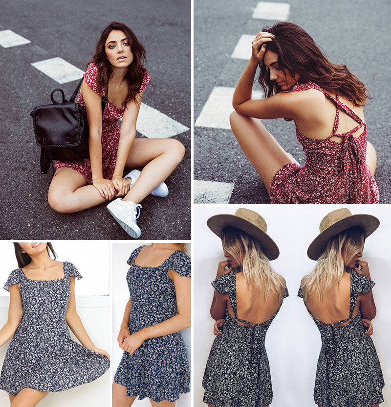 Backless Floral Dress, Luna Daze