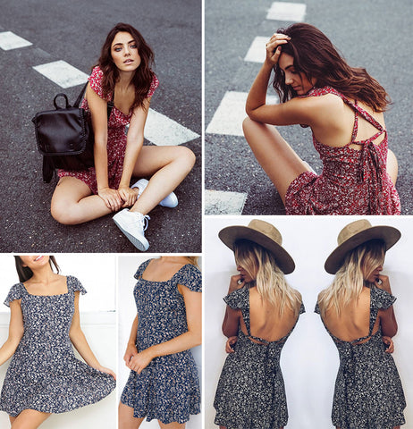 Backless Floral Dress - Luna Daze