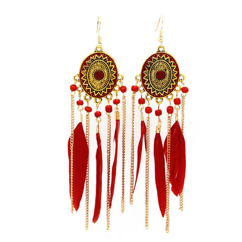 Charming Gold Feather Earrings