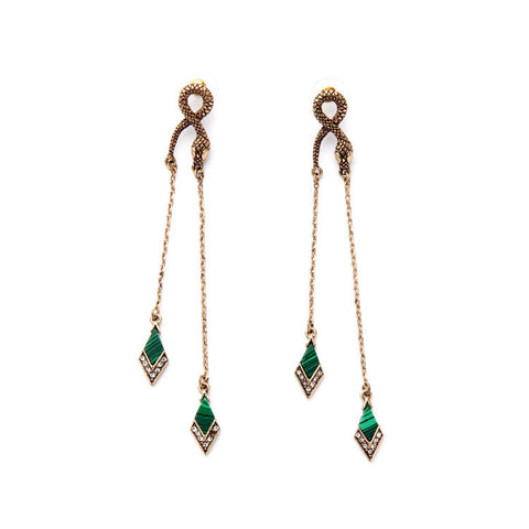Malachite Snake Earrings