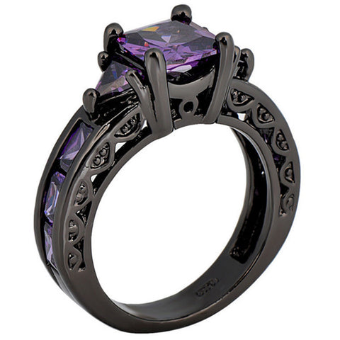 Amethyst Princess Cut Ring, Luna Daze