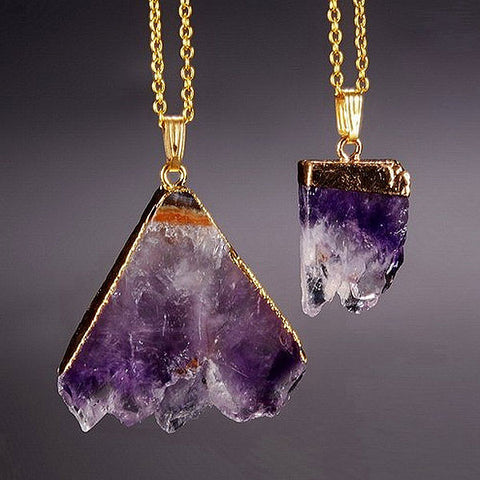 Amethyst Slice Necklace - Luna Daze
