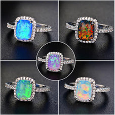 Fire Opal Cushion Cut Ring, Luna Daze
