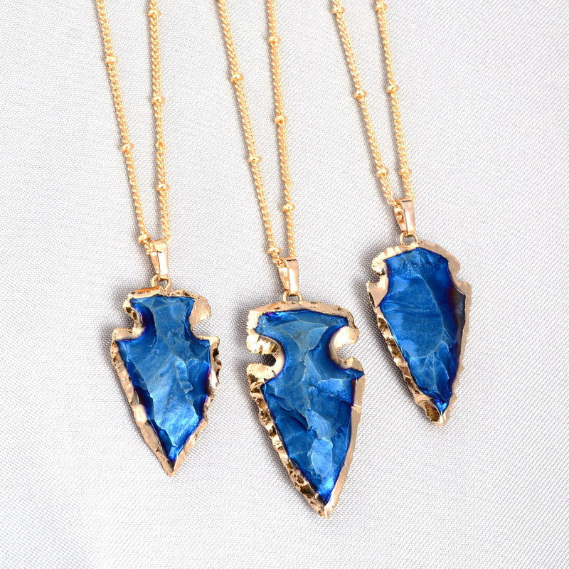 Blue Agate Arrow Necklace, Luna Daze