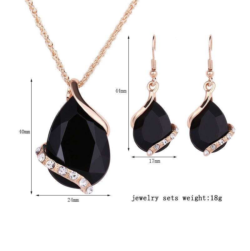 Black Crystal & Gold Necklace Set, Luna Daze