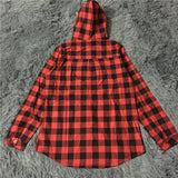Hooded Plaid Button UpLuna Daze