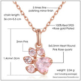 Rose Quartz Pawprint NecklaceJewelryLuna Daze