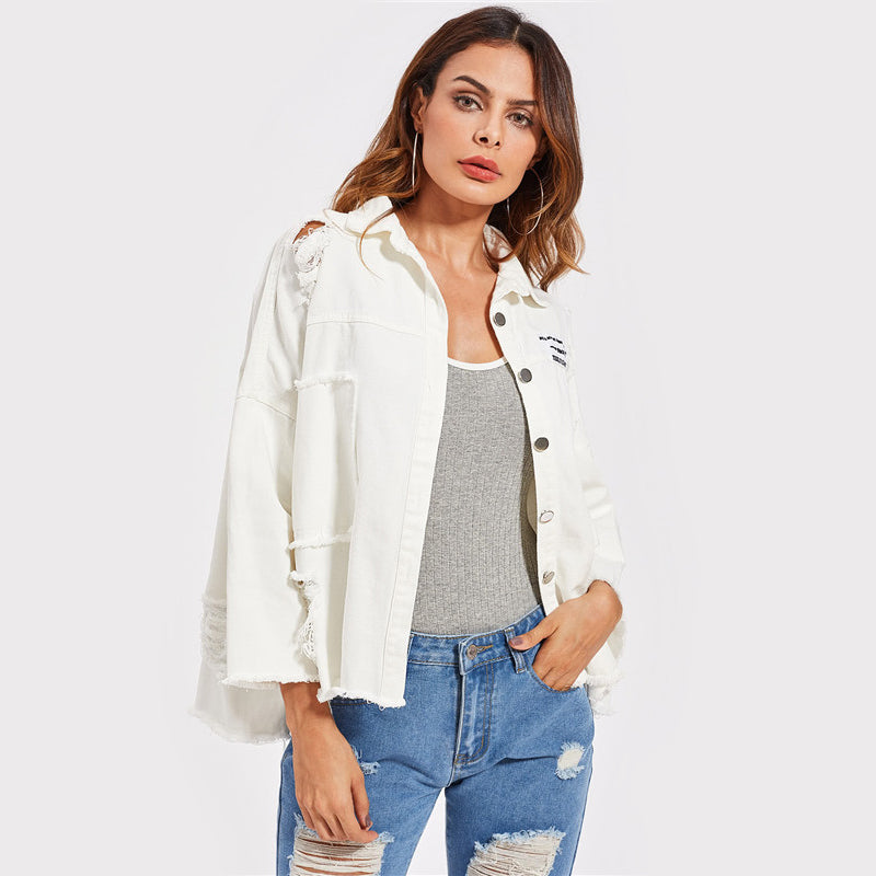 Patched & Distressed White Denim JacketLuna Daze